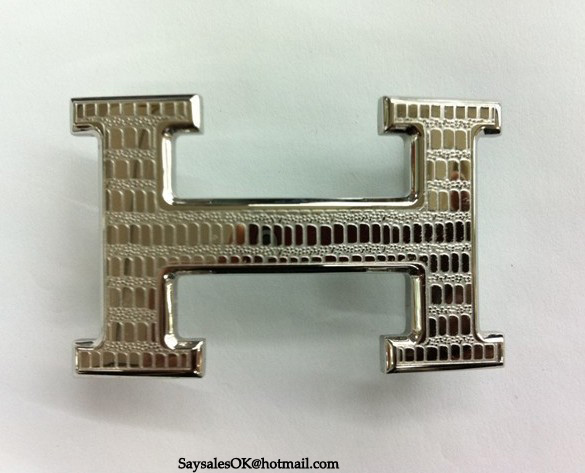 Hermes Lizards Stripe Buckle Silver
