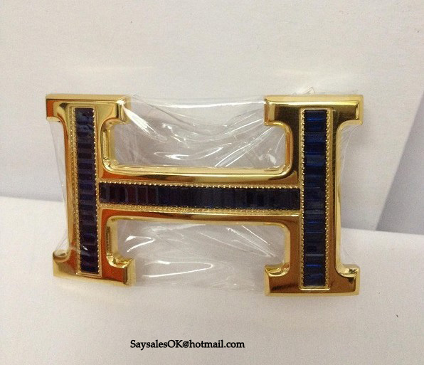 Hermes 18k Buckle With Crystal Dark Blue