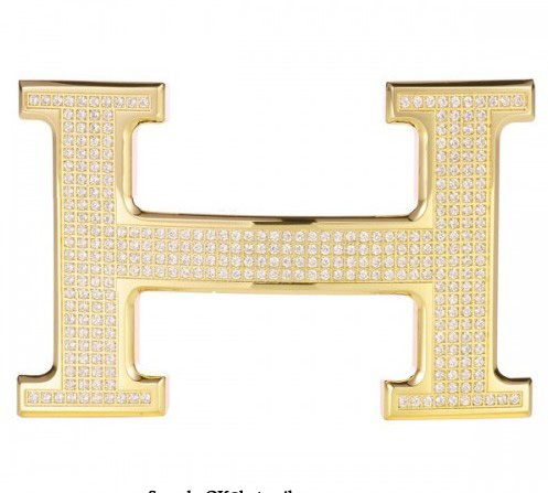 Hermes 18k Gold Plated H Buckle with Full Diamonds