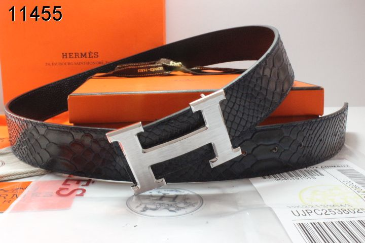 Black Hermes Belt with Silver H Buckle Mens Promote