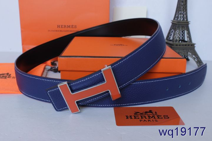 Designer Mens Blue Belt Hermes with Orange H Buckle Deals