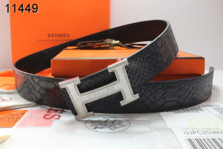Mens Black Belt with Silver H Buckle Hermes Online