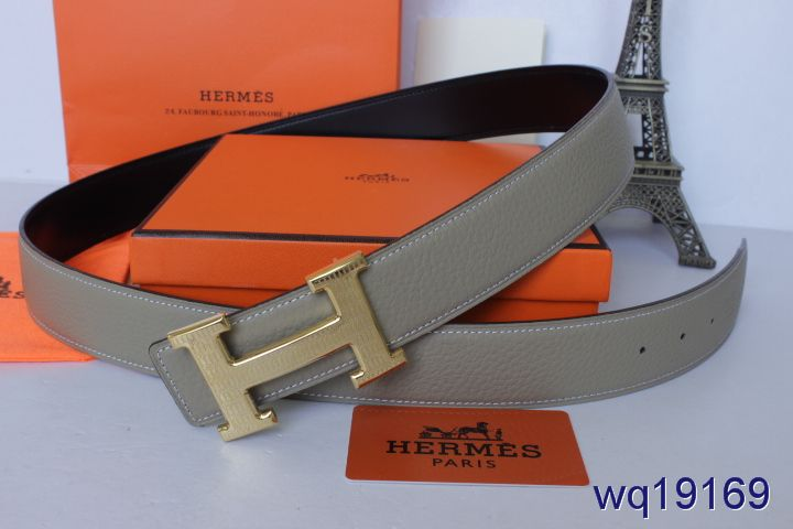 Fashionable Grey with Golden H Buckle Mens Hermes Belt Promote
