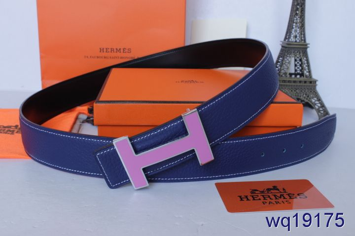 Discount Hermes Mens Blue with Pink H Buckle Belt For sale