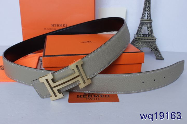 Designer Grey Belt Mens with Golden H Buckle Hermes Promote