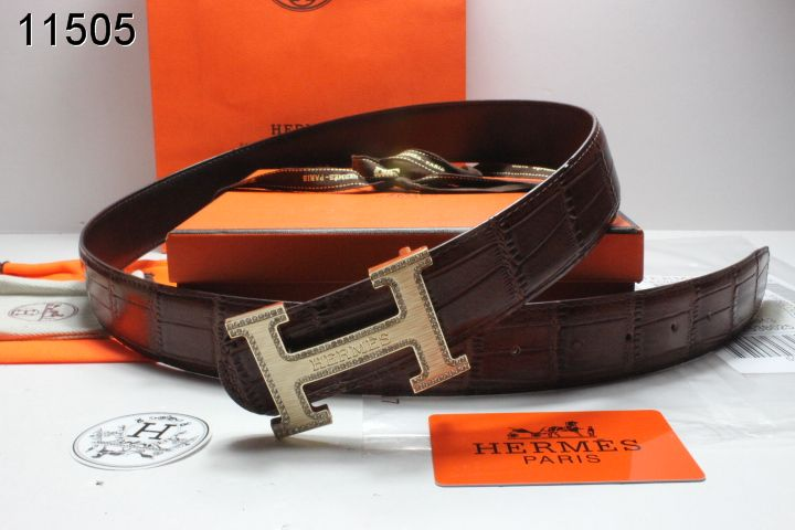 Cool Chocolate Hermes Belt Mens with Golden H Buckle
