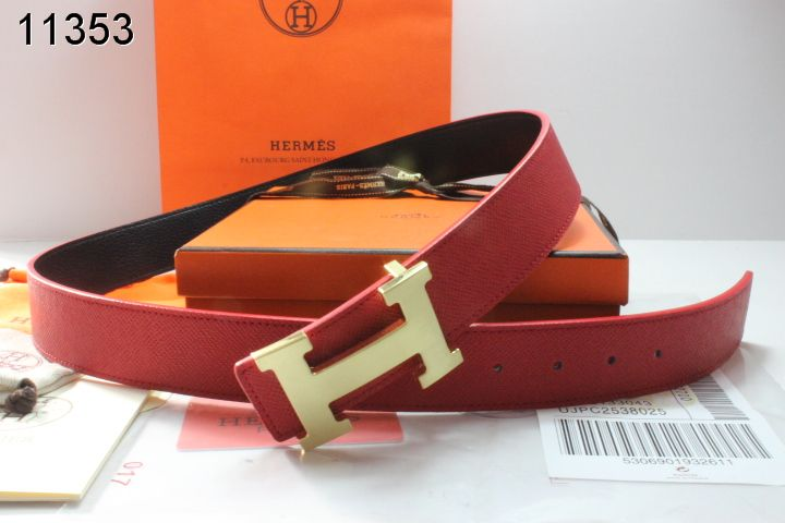 Red with Golden H Buckle Hermes Mens Belt On sale