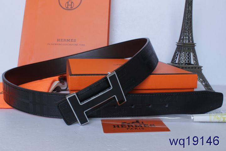 Luxury Black Mens Hermes Belt with Black H Buckle