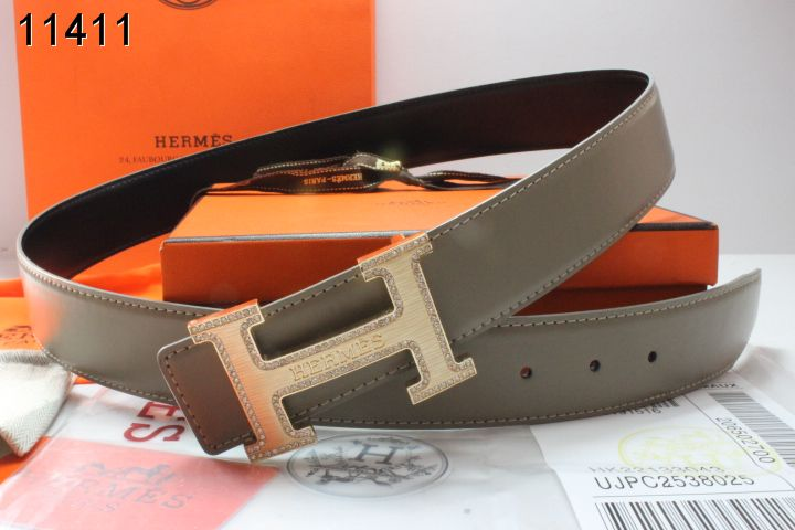 Fashionable Hermes Mens Belt with Golden H Buckle Grey Outlet