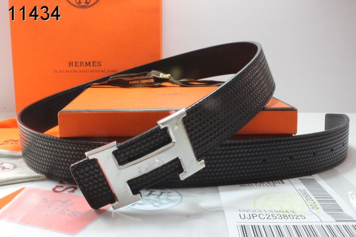 Mens Black Belt Hermes with Silver H Buckle Clearance