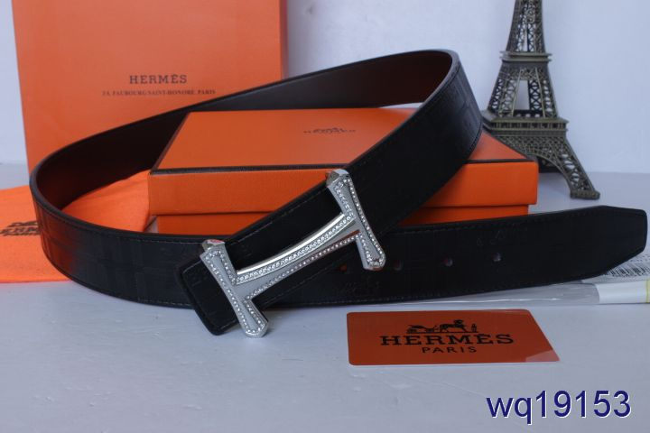 Mens Belt with Silver H Buckle Hermes Black Promote
