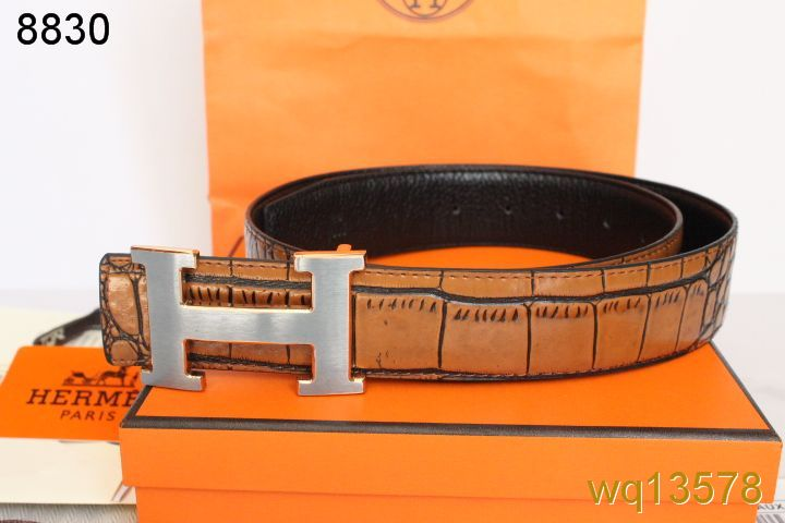 Qualified Hermes Brown Mens Belt with Silver H Buckle