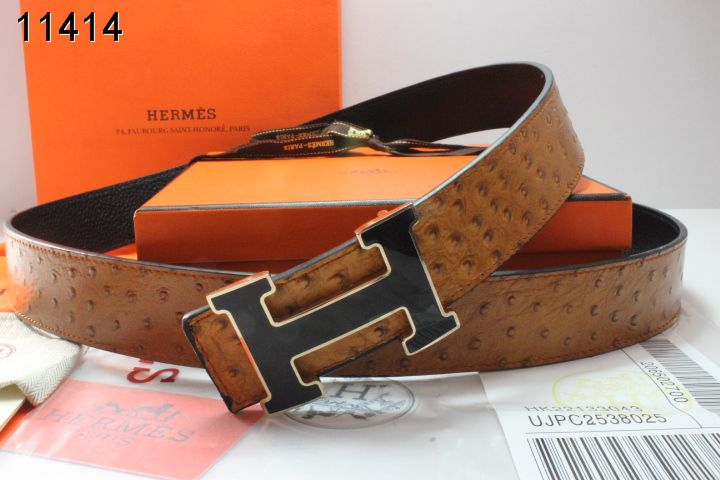 Fashionable Hermes Mens Belt with Black H Buckle Brown Sale
