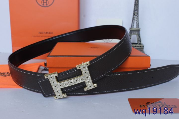 Buy with Golden H Buckle Black Belt Hermes Mens