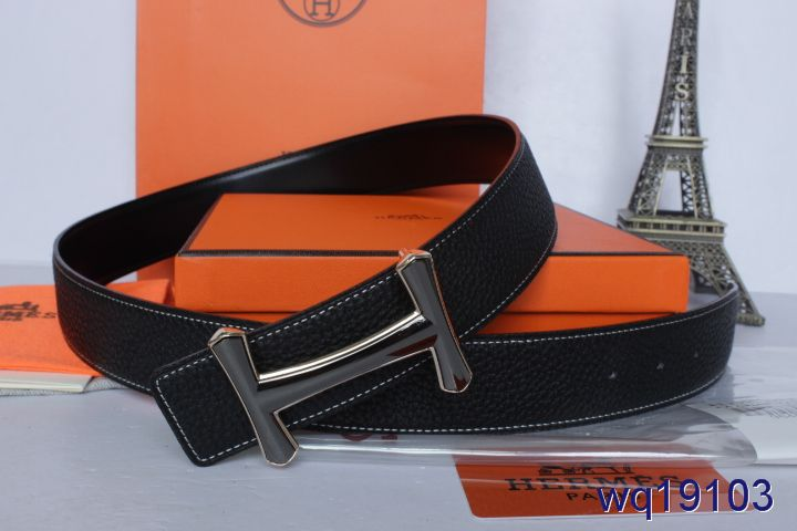 Hot Hermes Mens Black Belt with Black H Buckle