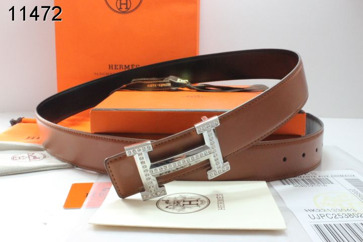 Protective Brown Belt with Silver H Buckle Mens Hermes
