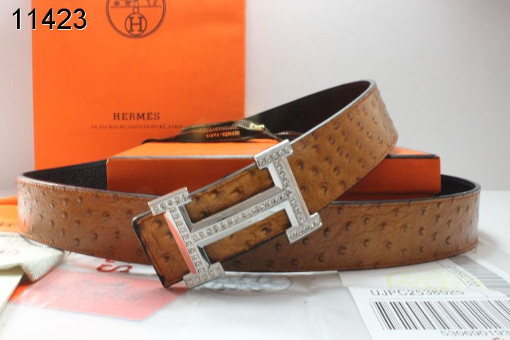 Personalised Belt Hermes Mens Brown with Silver H Buckle