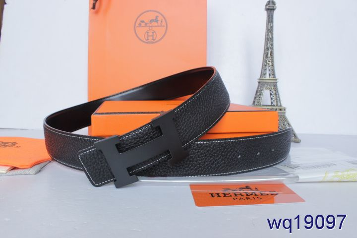 Great Black Belt Mens with Black H Buckle Hermes