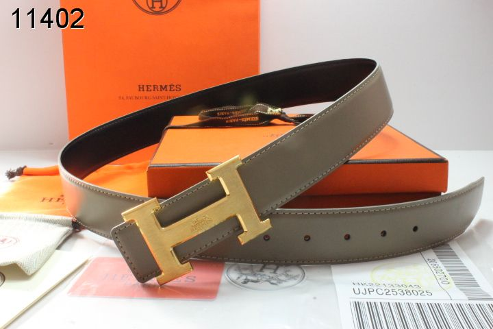 Trendy Grey Hermes Belt Mens with Golden H Buckle Online