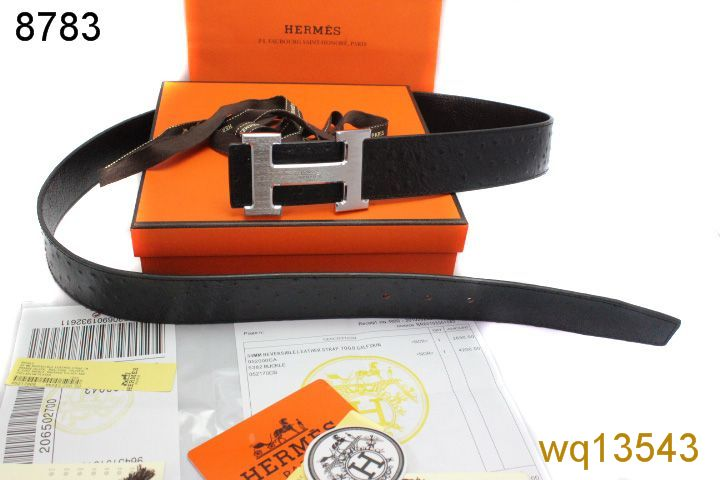 Hermes with Silver H Buckle Mens Belt Black UK