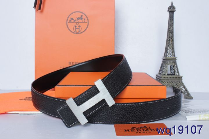 Black Mens with Silver H Buckle Hermes Belt Online