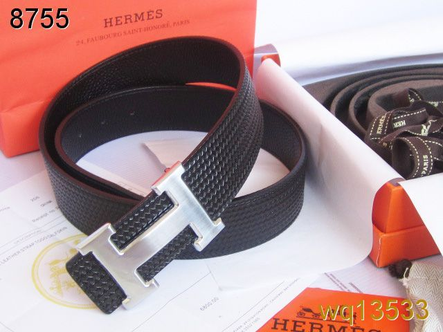 Belt Black Hermes with Silver H Buckle Mens Clearance Sale