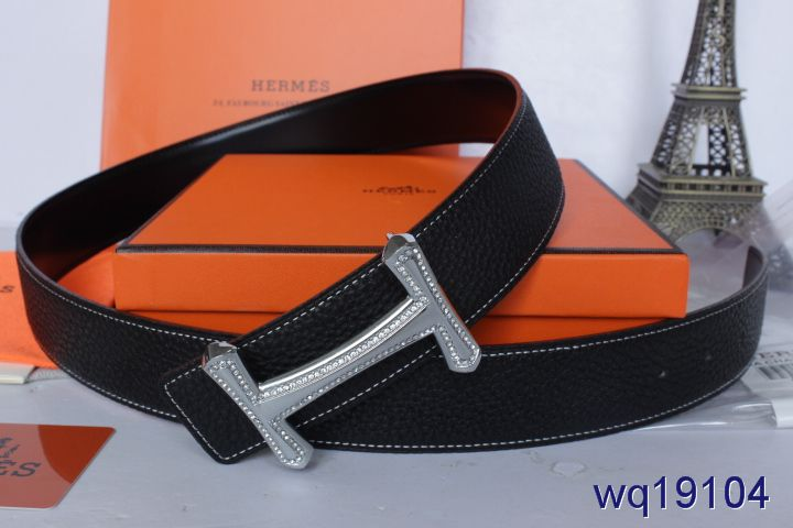 Mens with Silver H Buckle Black Hermes Belt Promote