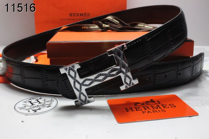 Hermes Mens with Silver H Buckle Belt Black Inexpensive