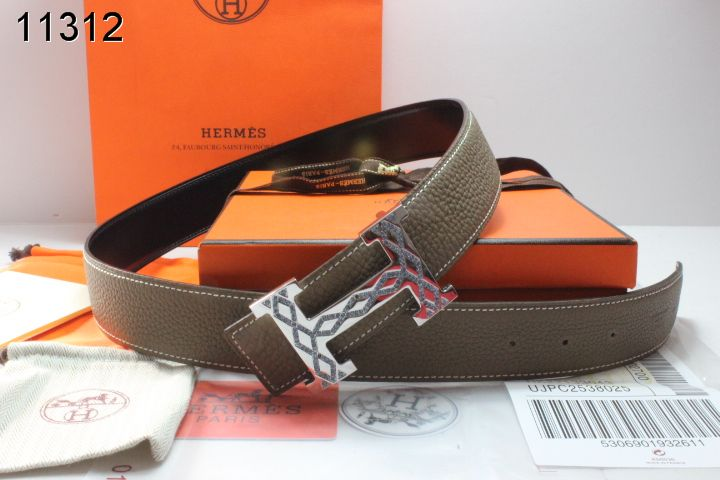 Special Mens Chocolate Hermes Belt with Silver H Buckle Store