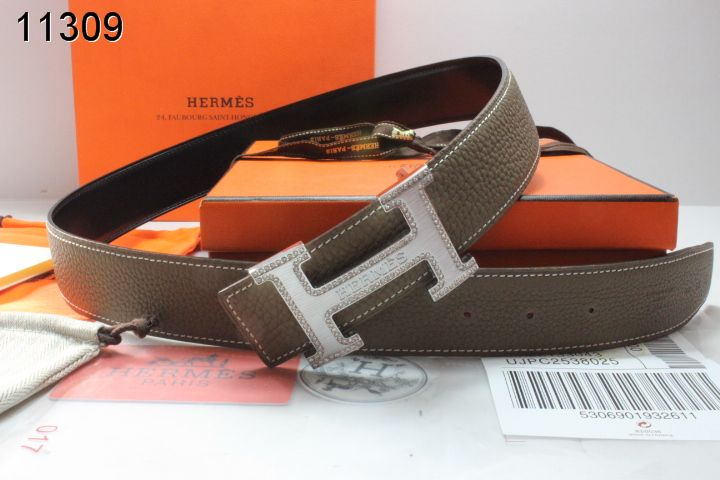 Designer Chocolate Mens with Silver H Buckle Hermes Belt Store