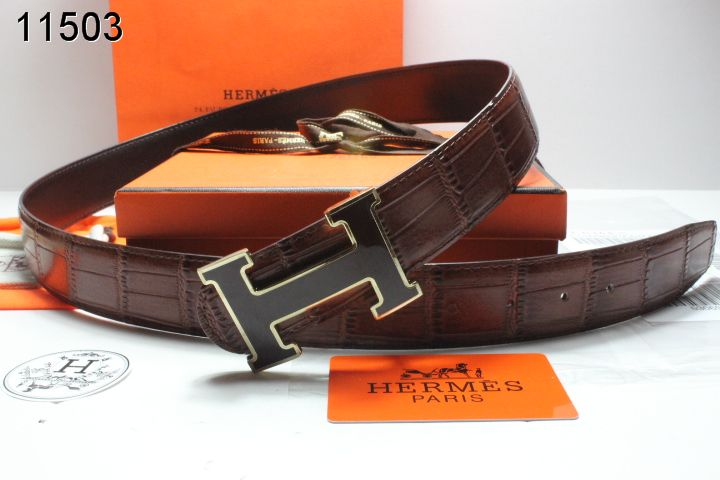 Good with Black H Buckle Mens Belt Chocolate Hermes