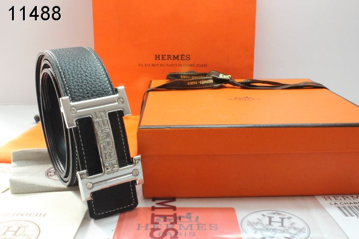 Black Hermes Belt with Silver H Buckle Mens Sale