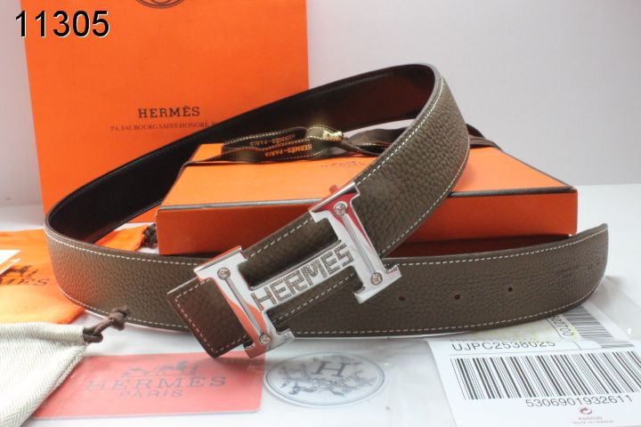 Trendy Mens Belt Hermes with Silver H Buckle Chocolate Sale