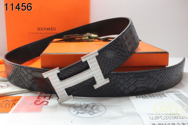 Hermes Black Mens Belt with Silver H Buckle Sale