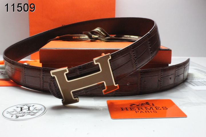 Discover Belt with Coffee H Buckle Chocolate Hermes Mens