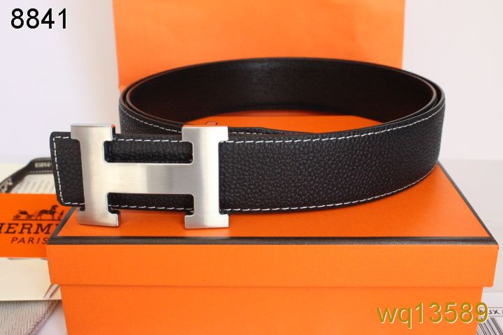 Mens Hermes with Silver H Buckle Black Belt On sale