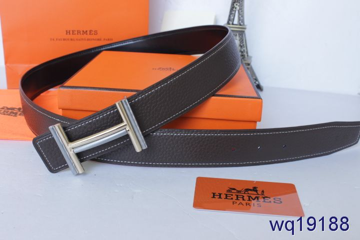 Hermes Black Belt Mens with Silver H Buckle For sale