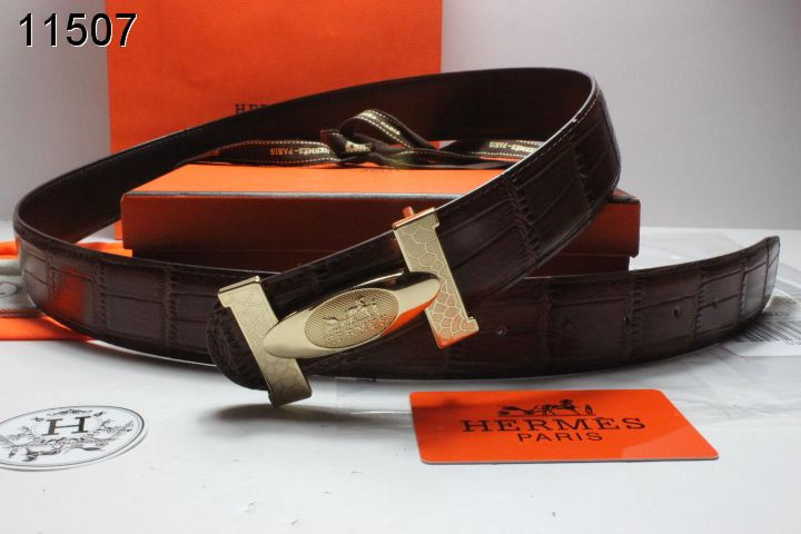 Custom with Golden H Buckle Belt Hermes Chocolate Mens