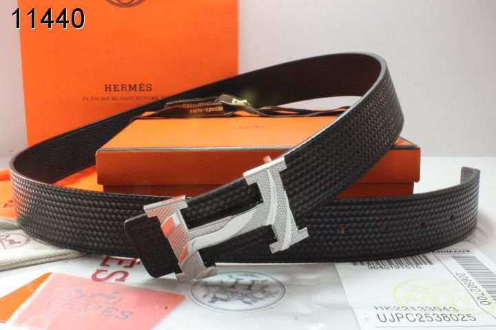 Mens Hermes with Silver H Buckle Black Belt For sale