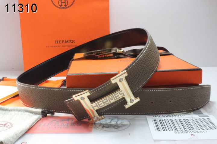 Authentic Chocolate with Golden H Buckle Belt Mens Hermes