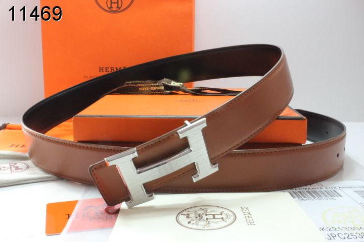 Personalized Mens Hermes Belt Brown with Silver H Buckle