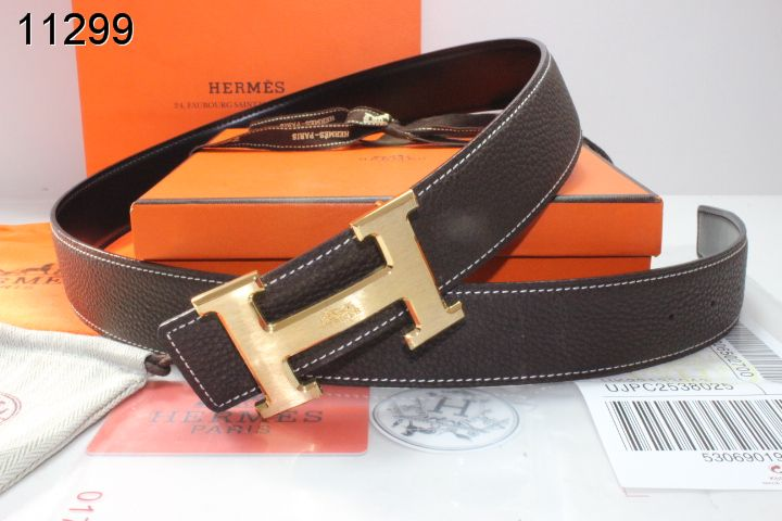 Cheap Belt Mens Hermes with Golden H Buckle Chocolate Wholesale