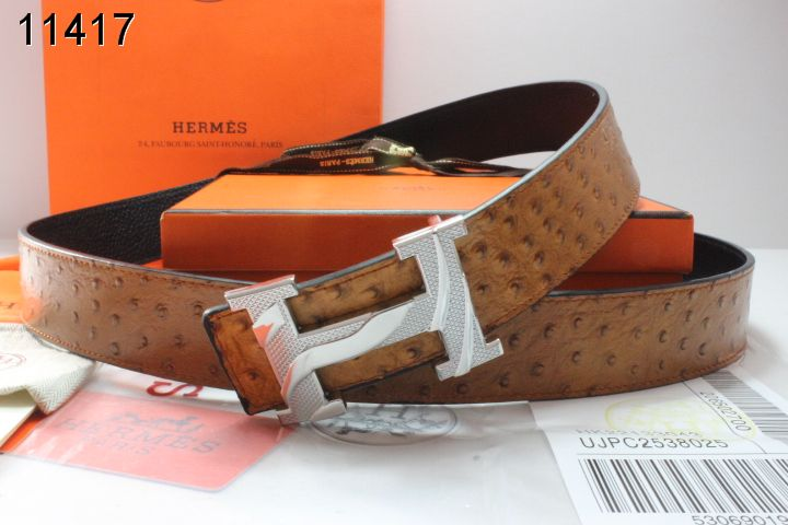 Nice Brown with Silver H Buckle Hermes Belt Mens