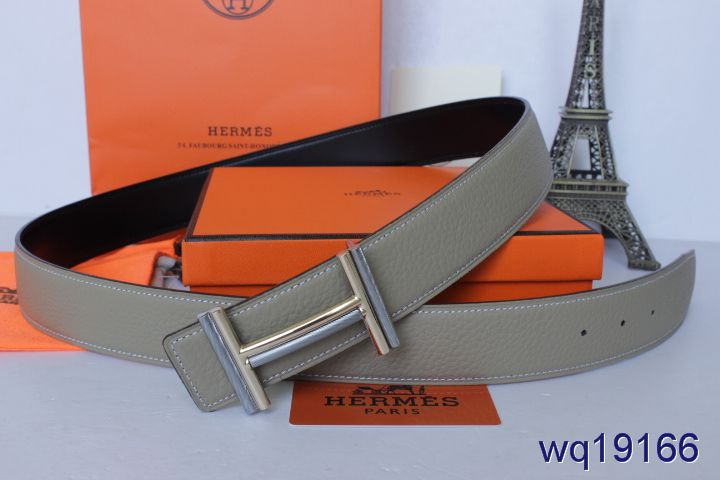 Shopping Grey Belt with Silver H Buckle Mens Hermes Online