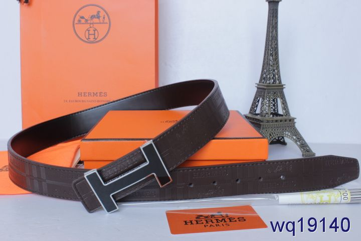 Latest Chocolate Mens Hermes Belt with Black H Buckle