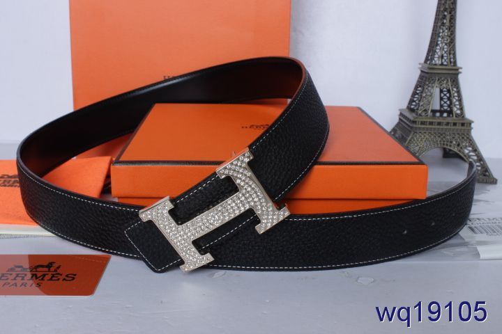 Black Mens Belt Hermes with Silver H Buckle Outlet