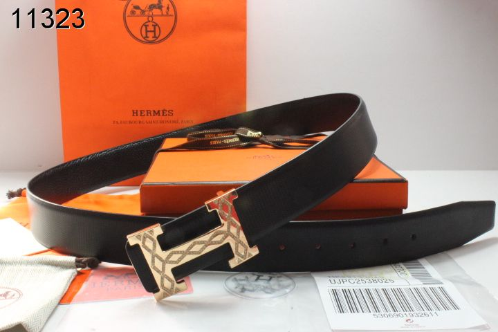 Belt Black Mens with Golden H Buckle Hermes Store