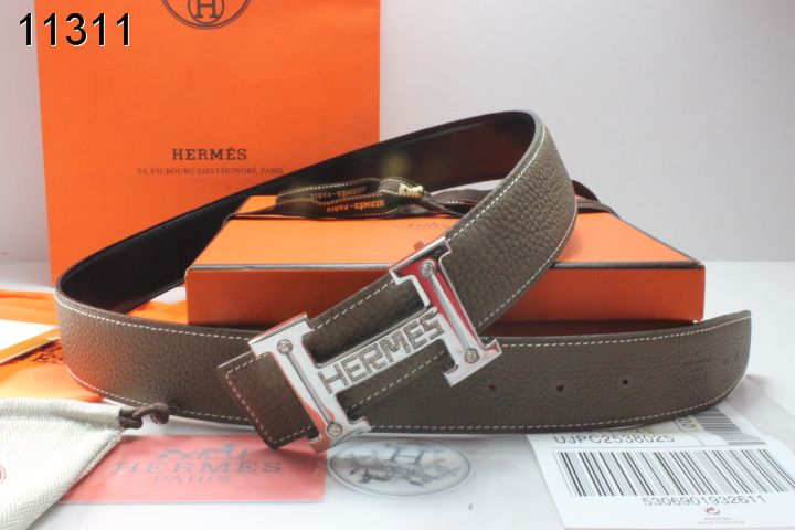 Luxury Belt Hermes Chocolate with Silver H Buckle Mens Store