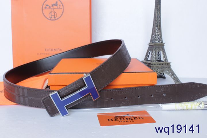 Featured Belt Chocolate Hermes with Blue H Buckle Mens