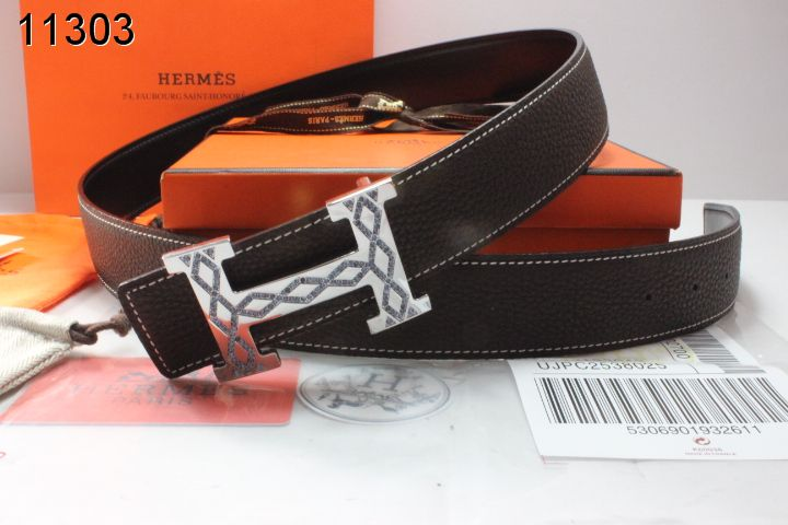 Stylish Chocolate with Silver H Buckle Belt Hermes Mens Sale